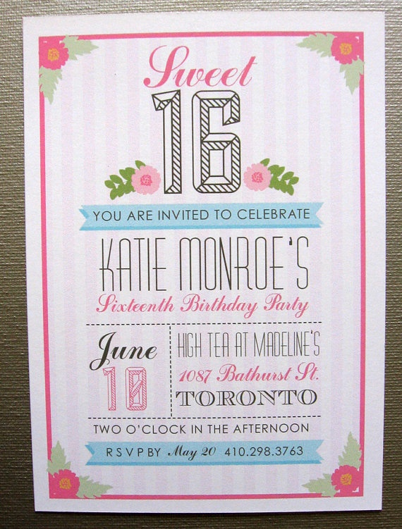 Sweet Sixteen Birthday Invitation by SpillingBeans on Etsy, 1.50