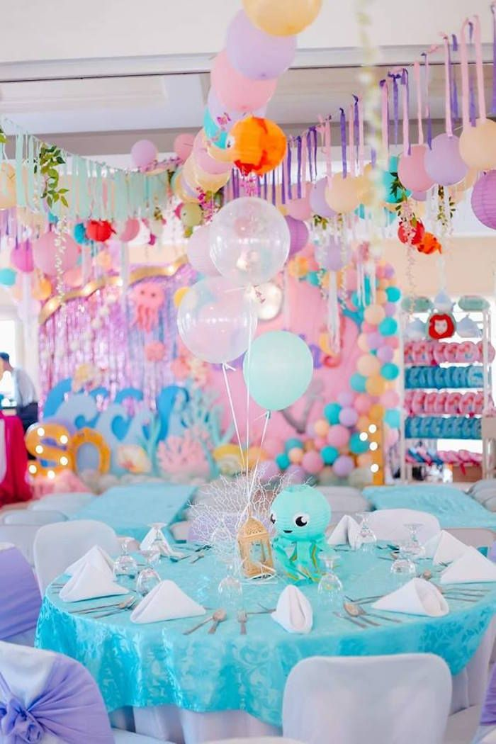 Under The Sea Party Table From A Pastel Mermaid Birthday On Karas Ideas