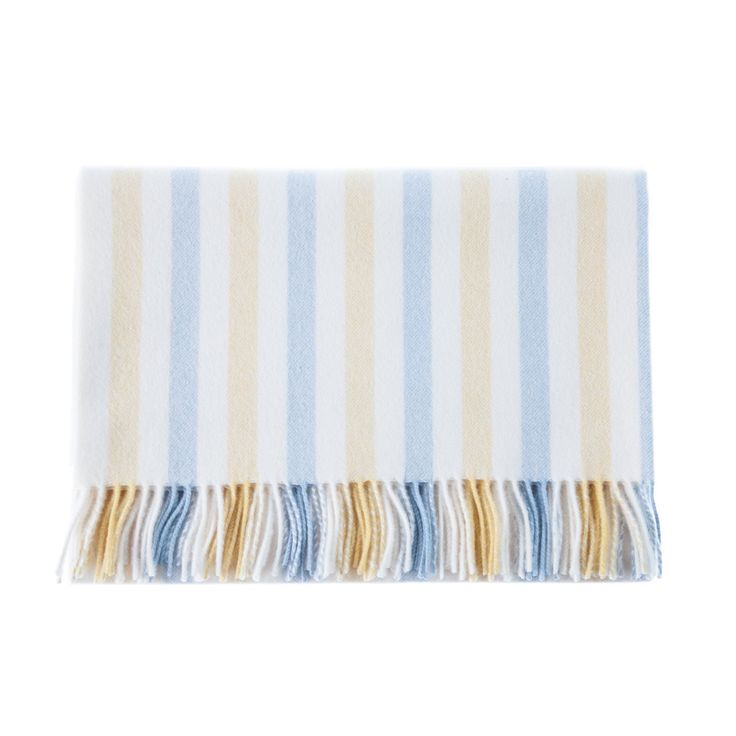 Striped Cashmere Baby Blankets - Lemon & Baby Blue