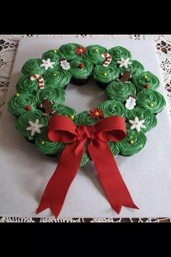 Corona navideña de cupcakes