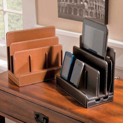 Faux Leather Multi-Charging Station - Storage for Small Spaces