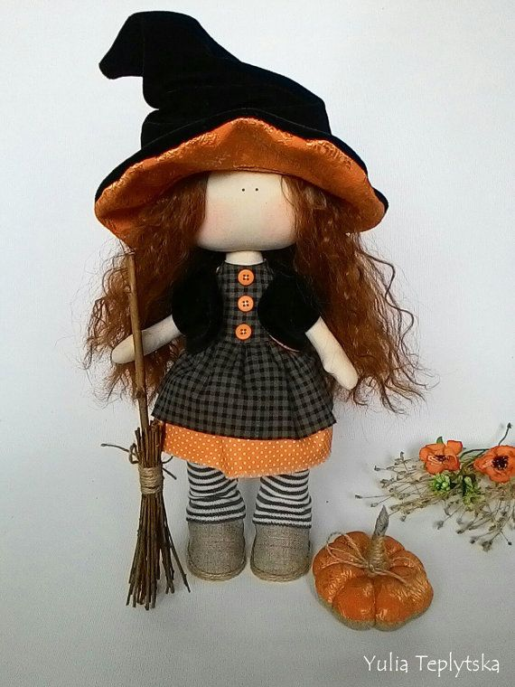 Halloween witch doll cloth doll in removable by JuliettaDoll