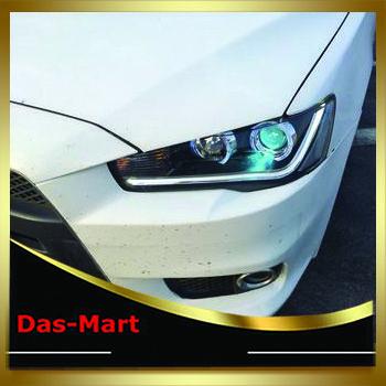 Car Styling Custom Modify Halo Black Projector Headlights LightBar Black For Mitsubishi Lancer 2010 2011 2012 2013 2014