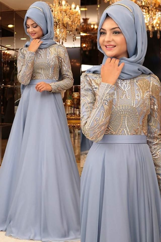 Evening Hijab gown in grey hues.