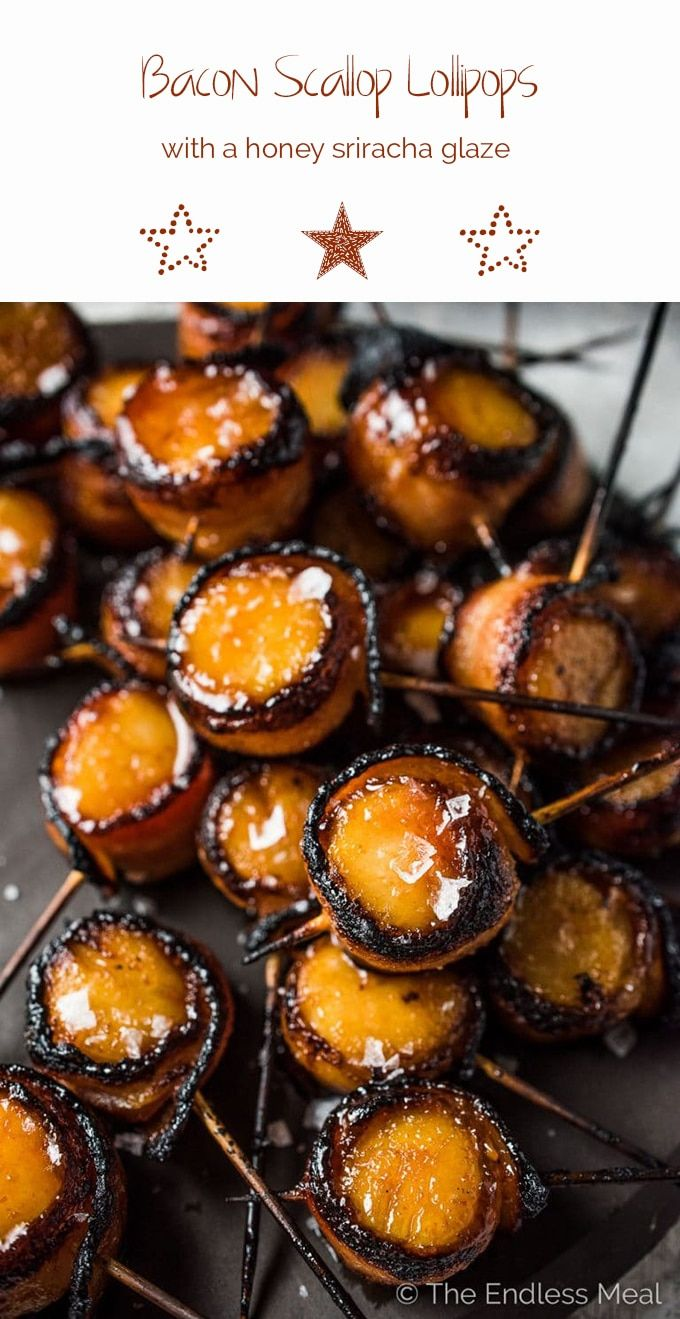 Bacon Scallop Lollipops with Honey Sriracha Glaze | The Endless Meal