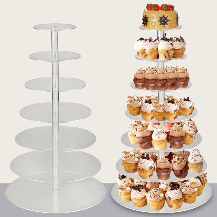 7-Tier Clear Acrylic Round Cupcake Birthday Wedding Cake Stand Display Tower | Home & Garden, Wedding Supplies, Wedding Cake Stands & Plates | eBay!