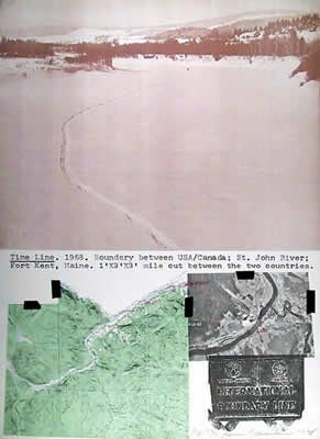 Dennis Oppenheim. Line drawn in snow on the boundary between US and Canada.
