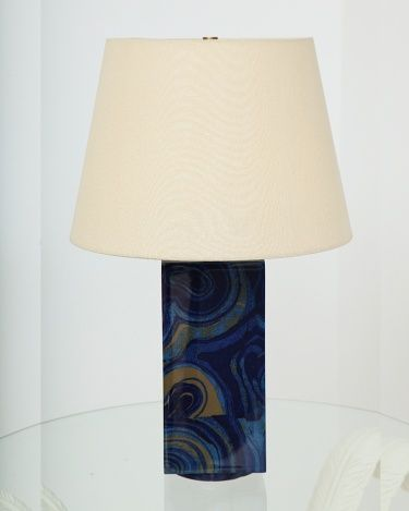 """The Natalie Lamp, Liz O'Brien Editions. Recectangular lamp on low circular plinth, wrapped in fabric and lacquered with high-gloss finish. Available in 4 colorways: Lapis, Malachite, Onyx and Travertine.  Made to order. 11.25""""H x 5""""W x 5""""Dia"""