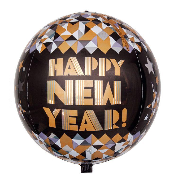 """Auf den ersten Blick erscheint der Heliumballon wegen seines Designs wie eine Diskokugel. Erst auf den zweiten Blick wird deutlich, dass es sich um einen mit Helium gefüllten Ballon handelt, der die Aufschrift """"Happy New Year"""" trägt und sich somit perfekt eignet, um Ihre Wünsche zum neuen Jahr elegant zu überbringen."""