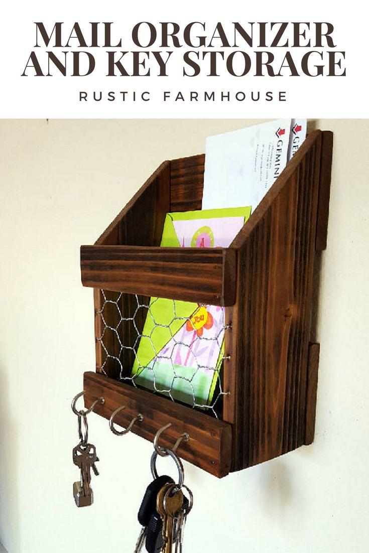 Rustic modern farmhouse mail organizer and key storage #affiliate #rustic #modern #farmhouse #country #key #storage #mail #organizer #home #decor