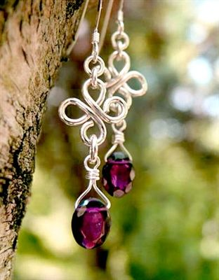 Sterling Silver Hand Formed Wire Wrapped Artisan Handmade Chandelier Earrings.