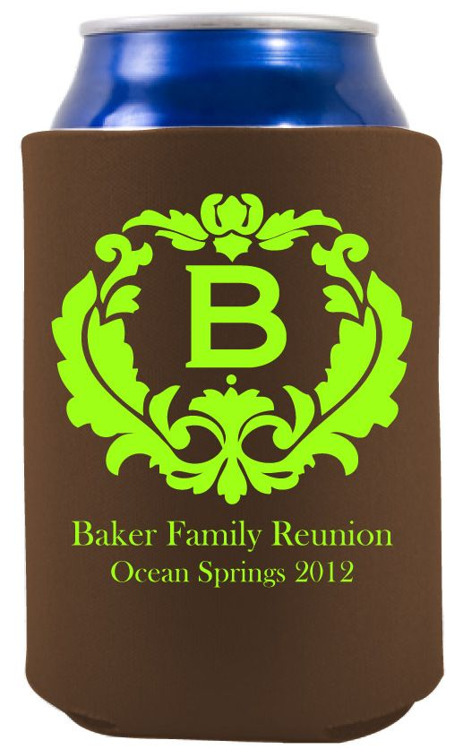 beautiful monogram design - koozie to keep your drink cold at your next family reunion