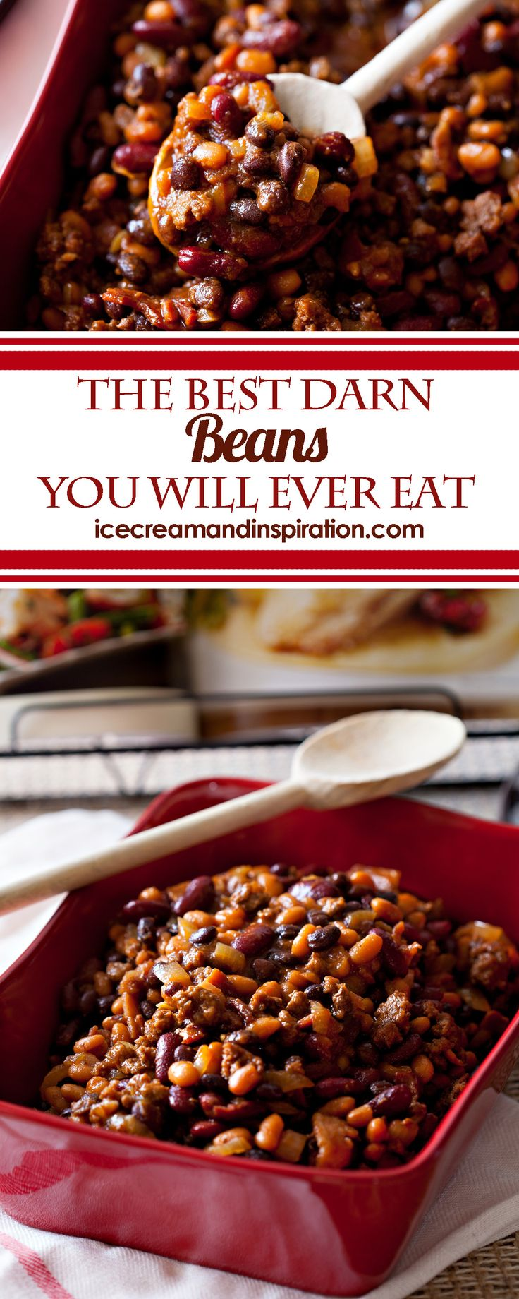 Brown sugar with bacon, hamburger, onions, and three types of beans. Throw it all in the slow cooker, and you have the Best Darn Beans You Will Ever Eat. Baked beans recipe, crock pot beans recipe