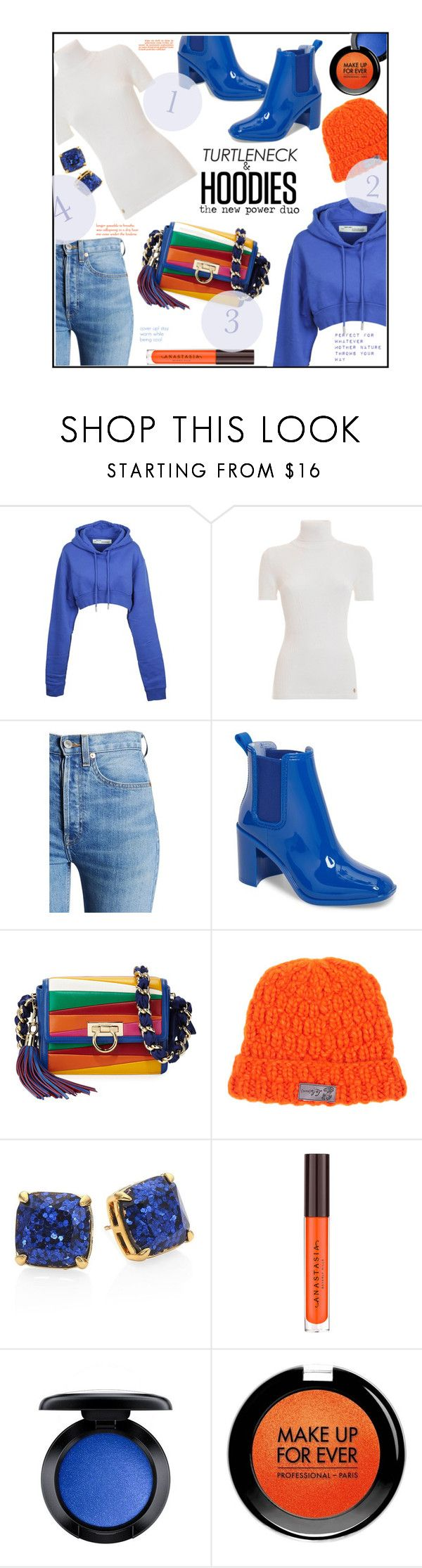 """""""Dynamic Duo"""" by jckallan ❤ liked on Polyvore featuring Off-White, RE/DONE, Jeffrey Campbell, Salvatore Ferragamo, Lola, Kate Spade, MAC Cosmetics, MAKE UP FOR EVER, Hoodies and turtleneck"""