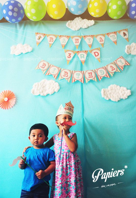 Party favors and decorations by Papiers*  #papiers #birthday #party #circus #kids #colorful #backdrop #partyfavor #decoration #personalized #design #customized #photocorner