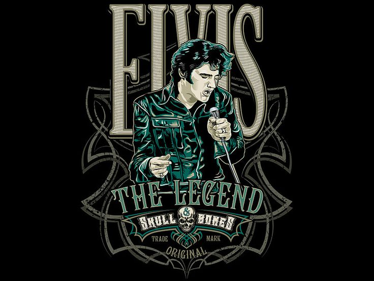 """«ELVIS The LEGEND» Vector illustration. Artwork series of music. Illustration of the print for t-shirts. The client """"Reya"""" studio. The work is done in programs Adobe Illustrator."""