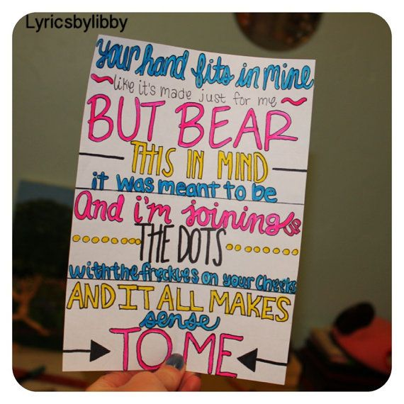 Little Things Lyric Drawing by One Direction. Drawn by: lyricsbylibby on Etsy, $3.00