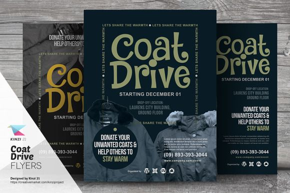 Coat Drive Flyer Templates by kinzi21 on @creativemarket