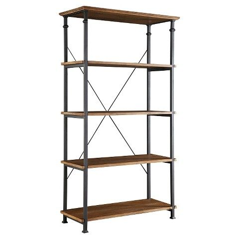 Target furniture home office furniture bookcases Ronay Rustic Industrial Wide Bookshelf - Pine