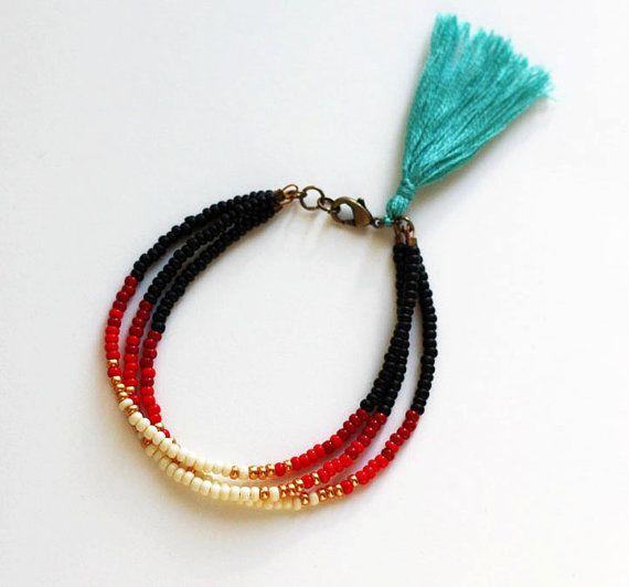 Beaded Tribal Bracelet Layering Bracelet by feltlikepaper, $26.00