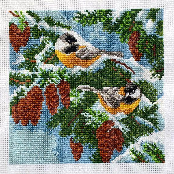 Woodland Winter Cross Stitch Two Yellow Birds On Pine Tree