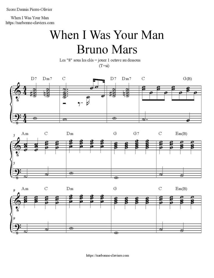 Gratuit : Téléchargez la partition complète de Bruno Mars  – When I was your man free piano sheet music When I was your man: partition piano  https://narbonne-claviers.com/when-i-was-your-man-bruno-mars-piano