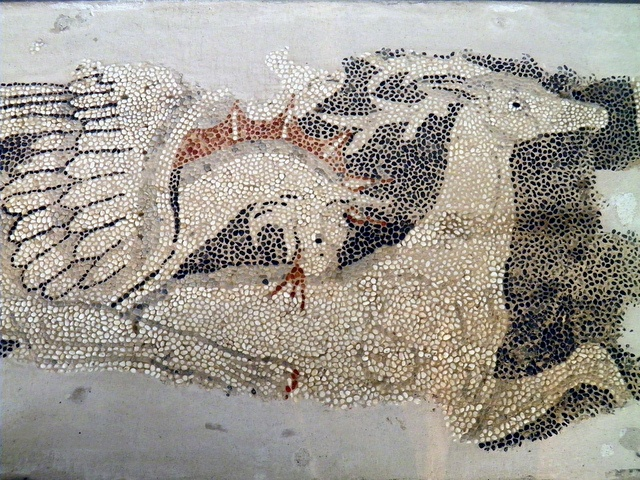 Detail of pebble mosaic pavement from the Dionysos House, Griffin tearing apart a deer, 325-300 BC, Archaeological Museum, Pella, Macedonia Greece