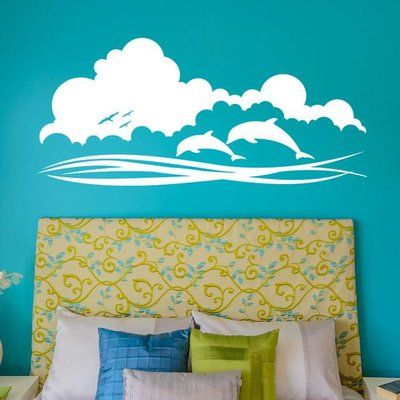 "Style and Apply Dolphin Sky Wall Decal Color: Golden Yellow, Size: 11"" H x 24"" W"