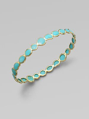 From Ippolita's Polished Rock Candy Collection. Richly colored, distinctively veined turquoise in a range of geometric shapes, each framed in polished gold.