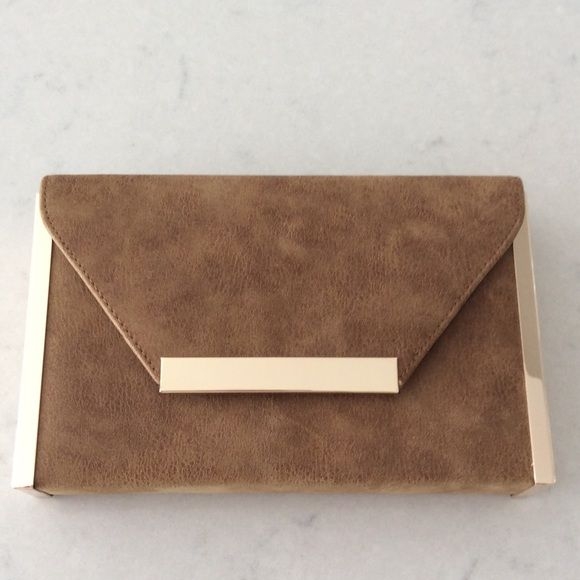 Camel Clutch with gold Accents Cute and trendy clutch. Bags Clutches & Wristlets