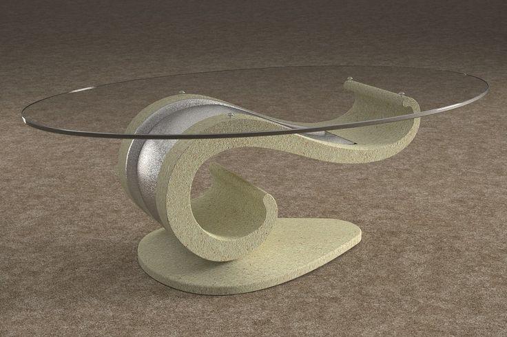 Articolo 62B-1-8-G     Tavolino da salotto Lisa - Finitura: effetto pietra / argento.Misure: cm 110 x 65 - Altezza: cm 37 - Peso: Kg. 51