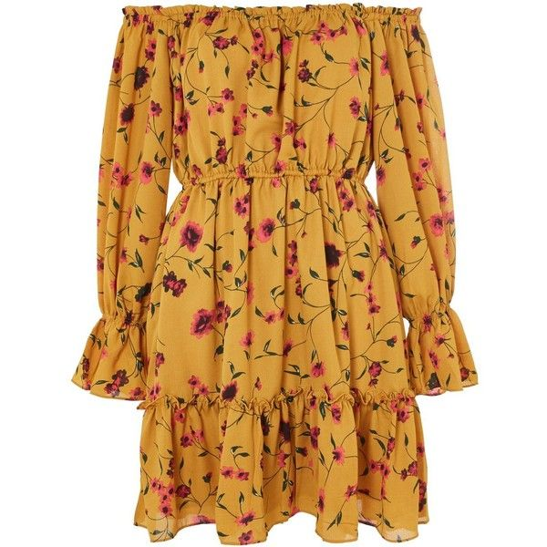 Autumn Floral Bardot Dress by Glamorous Core ($45) ❤ liked on Polyvore featuring dresses, mustard, flower design dresses, floral dresses, brown dresses, floral bell sleeve dress and floral day dress
