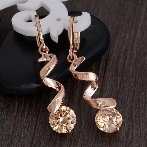 Top Quality 8 Colors Gold Plated CZ Drop Dangle Earrings for Women