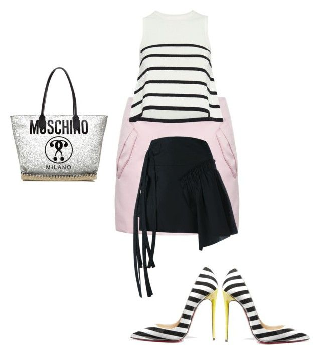 """""""Untitled #117"""" by omaimet on Polyvore featuring N°21, Cardigan, Christian Louboutin and Moschino"""