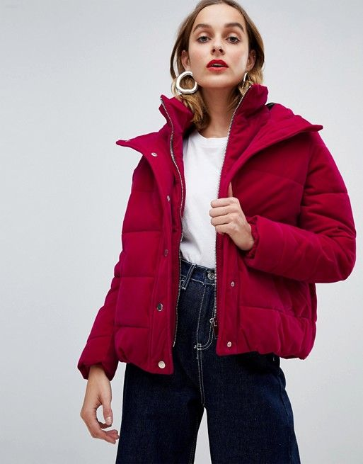 de5f9af80 River Island short padded jacket in pink velvet in 2019