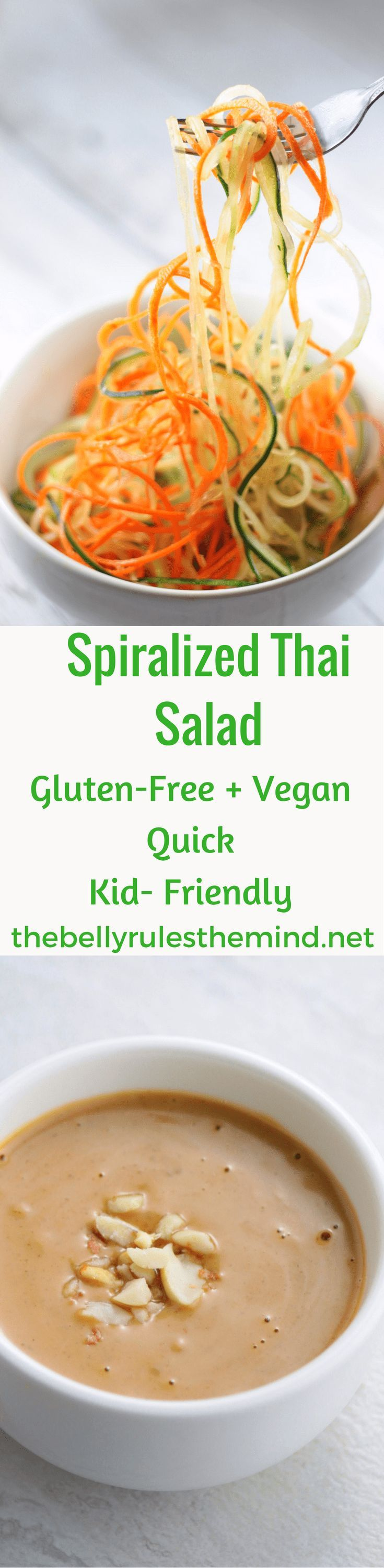 Spiralized Thai Salad :Vegan + GF  salad made with cucumbers, Carrot Beetroot, mint + cilantro and topped with a quick  creamy Thai dressing. Ready 10 mins  with Ninja Intelli-Sense Kitchen System with Auto-Spiralizer. #NinjaSnapTapGo #NinjaPartner #ad @Ninjakitchen @bellyrulesdmind