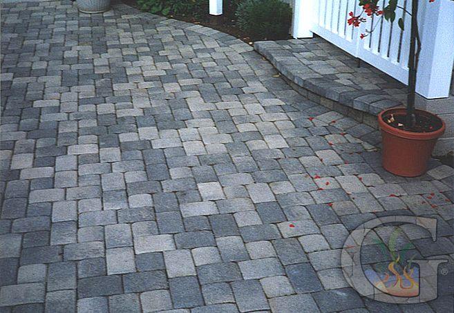 grey pool deck pavers | Patio Paver: Antique Cobble I-Pattern, grey charcoal. Ref#PT0007