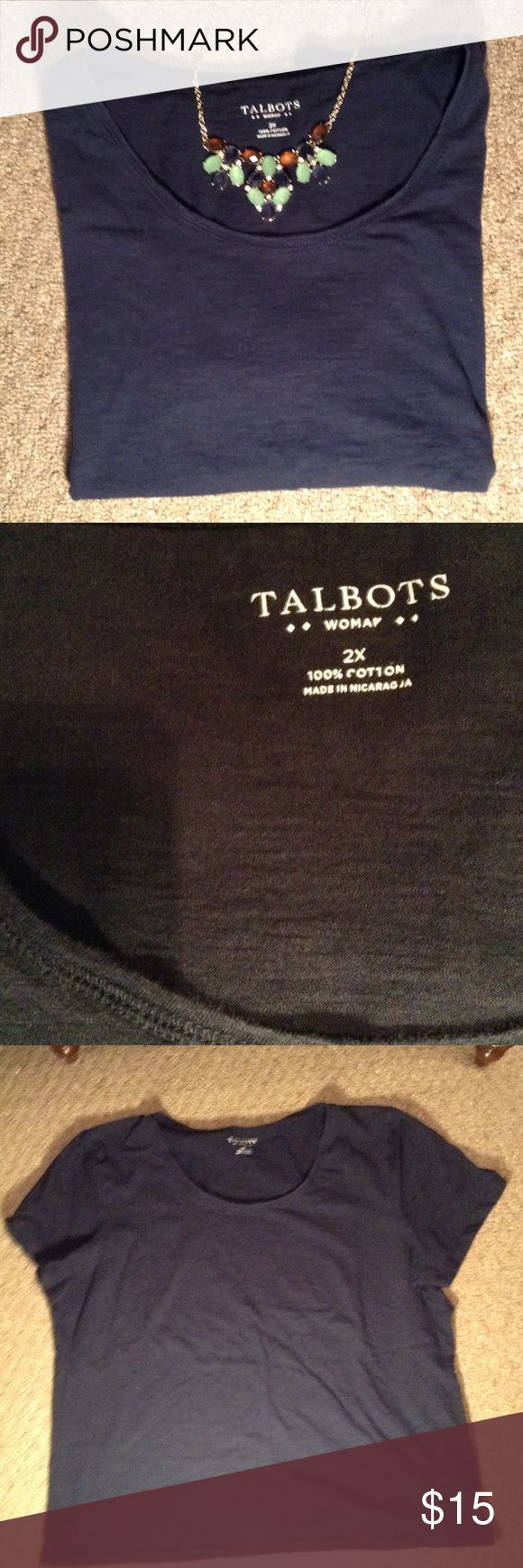 Talbots Navy Tee Perfect tee to go with anything! Dress up or down! Worn many times, fabric does show wear, but has plenty of life still in it. Open to reasonable offers! Talbots Tops Tees - Short Sleeve