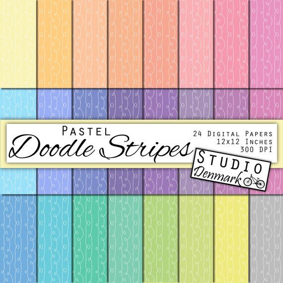 Pastel Doodle Stripes Digital Paper Value Pack - 24 Colors - 12in x 12in 300 dpi jpg - Commercial Use - Instant Download #handmade #gifts