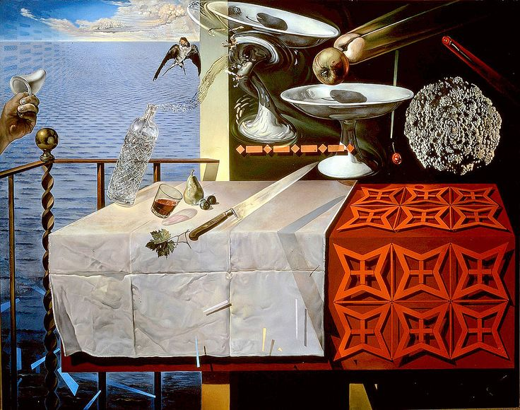"""Dali Salvador Still Life Fast Moving 1956 Florida St Petersburg Dali Museum (from <a href=""""http://www.oldpainters.org/picture.php?/32750/category/338"""">serra</a>)"""