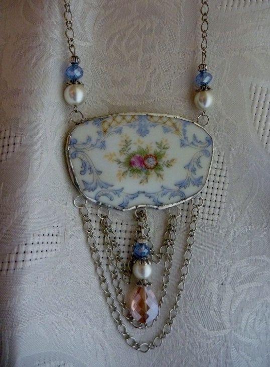 Broken China JewelryBib NecklaceFloral NecklaceOOAK by DLTrinkets, $50.00
