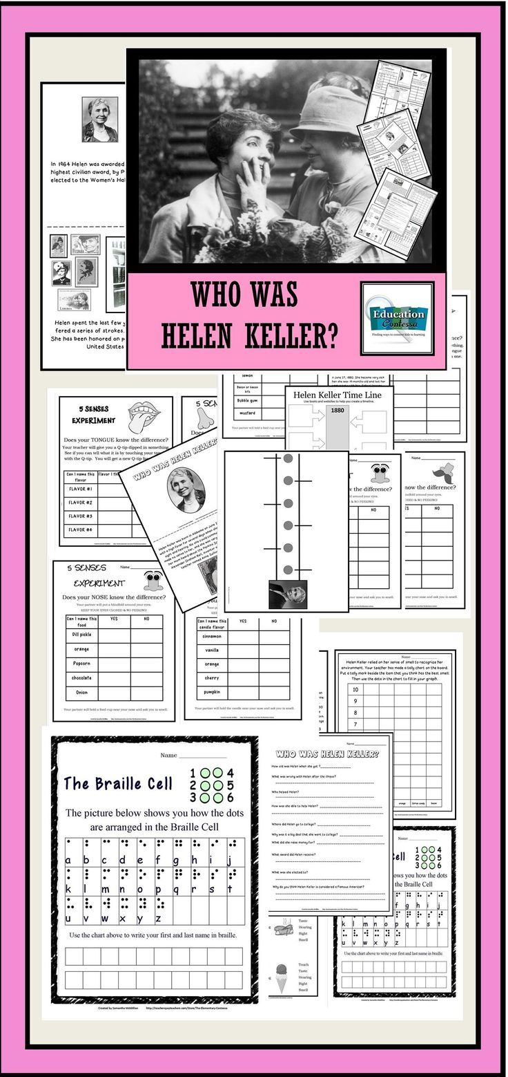 Helen Keller Unit: 24 pages of activities that will definitely make learning about Helen Keller more interactive than just reading a book to the class!
