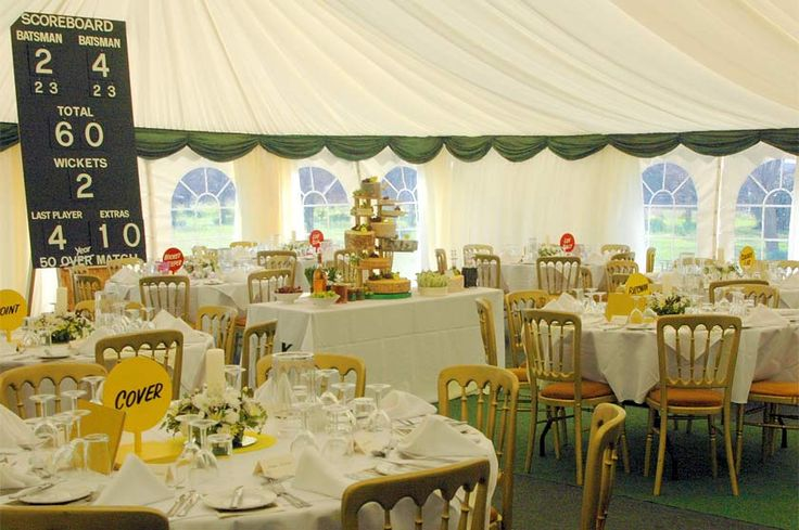 Cricket themed marquee for a cricket mad couple's 50th anniversary - a lesson in how to create a special personalised anniversary party without spending the earth