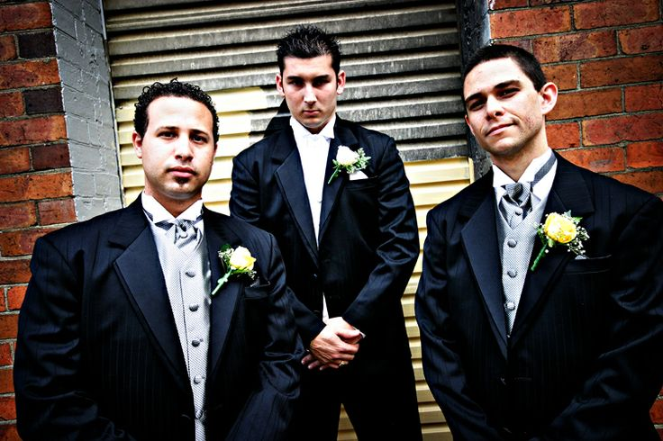 Groomsmen + Brick wall, garage door
