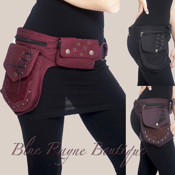 Cotton Lace & Brass Grommet 3 Pocket Hip Pod Belt Bum Bag Gypsy Steampunk Wallet…
