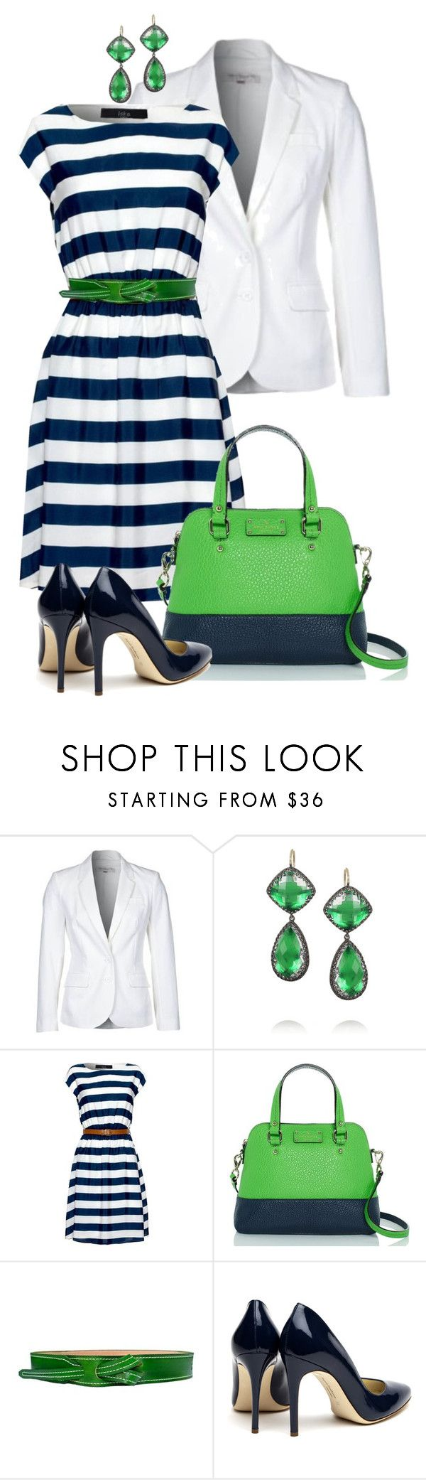 """""""navy stripes"""" by sagramora ❤ liked on Polyvore featuring French Connection, Larkspur & Hawk, Iska, Kate Spade, Lombardi Leather and Rupert Sanderson"""