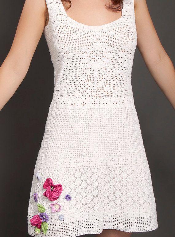 Vestido de blanco primavera verano crochet por LecrochetArt en Etsy