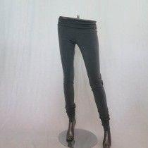 Pantalone verde scuro donna, aderente, arricciato alla caviglia, Leidirò