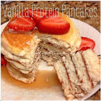 Delicious and Healthy Vanilla Protein Pancakes- my favorite protein pancake recipe of all the ones I've tried