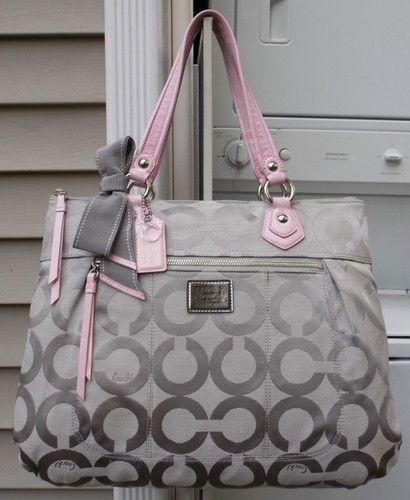 MINT AUTH Coach POPPY Pink & Grey OP ART SIG Scarf Glam Tote/Handbag 17937 RARE--be still my heart